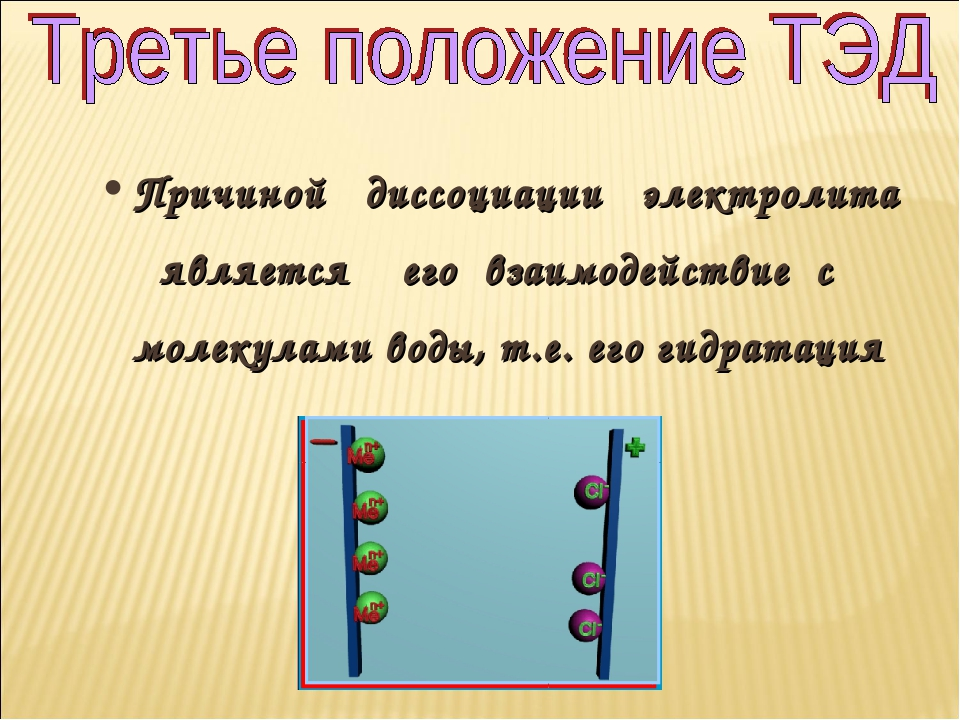 Причиной диссоциации электролита является его взаимодействие с молекулами вод...