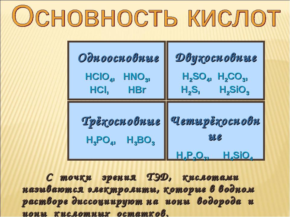 С точки зрения ТЭД, кислотами называются электролиты, которые в водном раств...