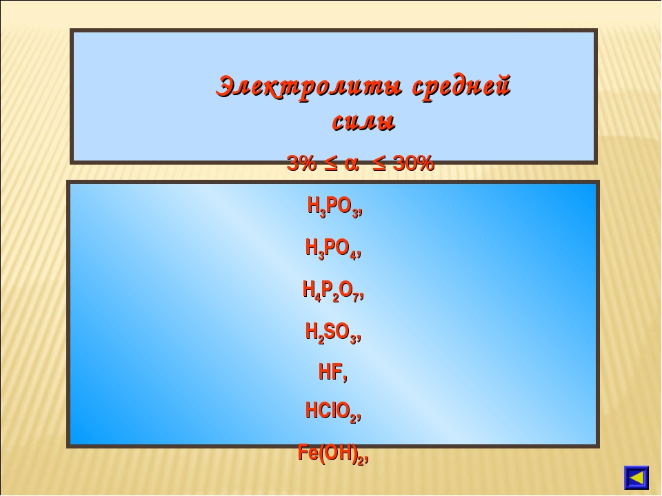 Электролиты средней силы 3%    30% H3PO3, H3PO4, H4P2O7, H2SO3, HF, HClO2,...