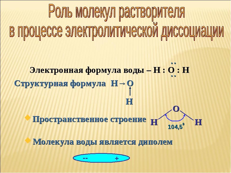 Молекула воды является диполем Электронная формула воды – Н : О : Н Простра...