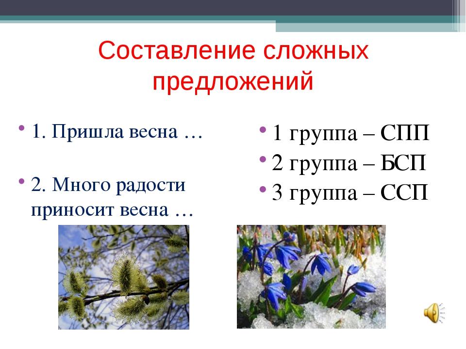 Составление сложных предложений 1. Пришла весна … 2. Много радости приносит в...