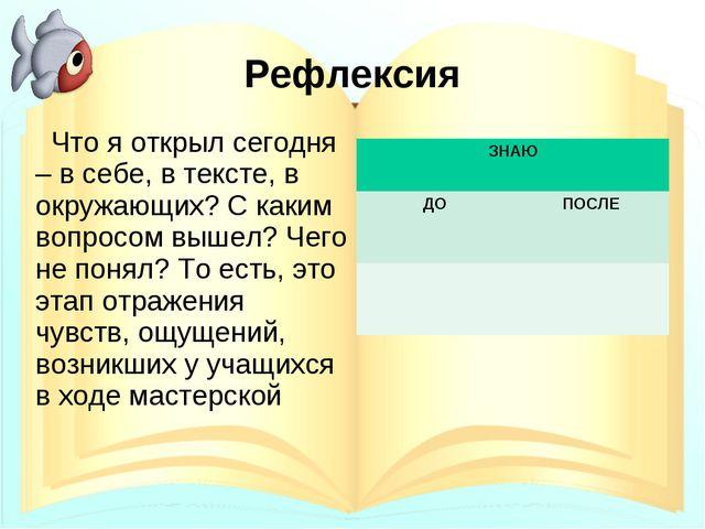 Рефлексия Что я открыл сегодня – в себе, в тексте, в окружающих? С каким вопр...