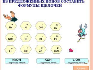 ИЗ ПРЕДЛОЖЕННЫХ ИОНОВ СОСТАВИТЬ ФОРМУЛЫ ЩЕЛОЧЕЙ + H 2+ Cu - NO3 - Cl 3+ Fe +
