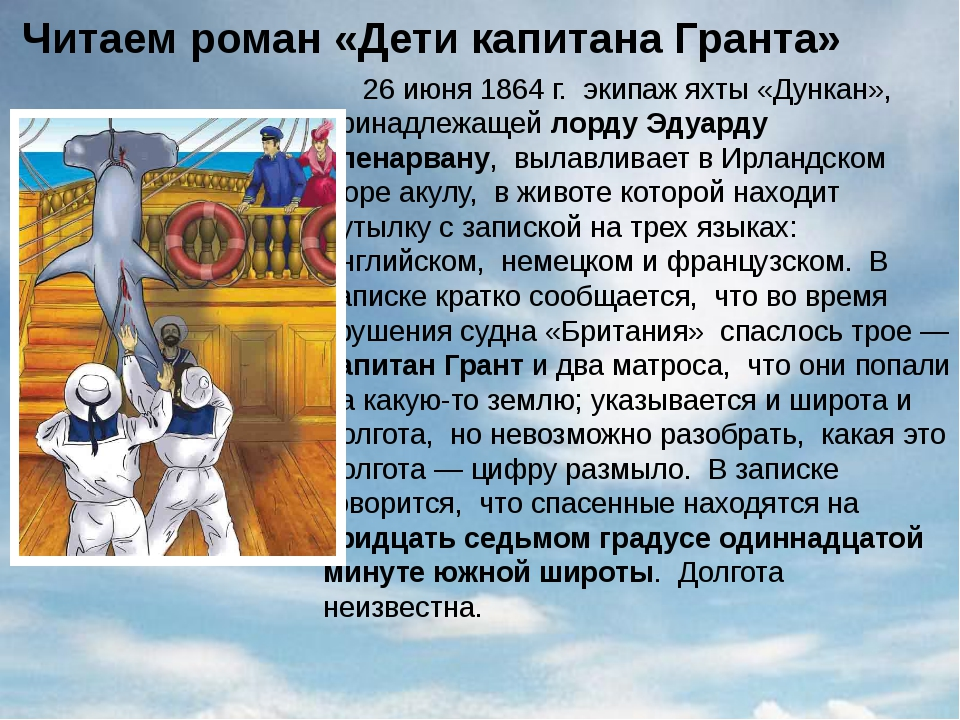 Читаем роман «Дети капитана Гранта» 26 июня 1864 г. экипаж яхты «Дункан», при...