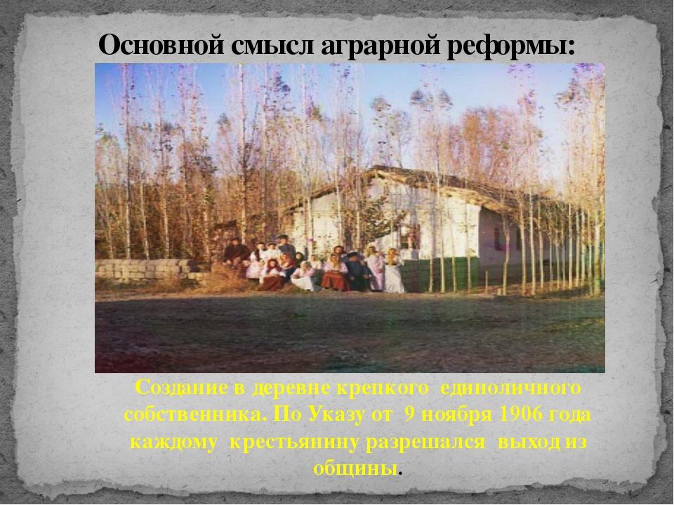 Основной смысл аграрной реформы: Создание в деревне крепкого единоличного соб...