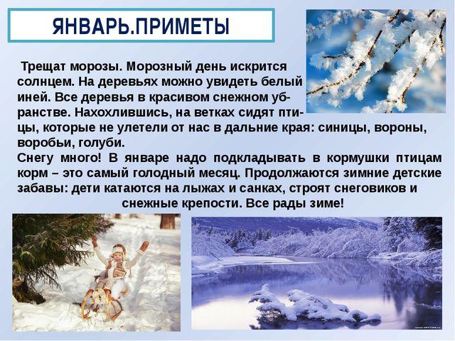 ЯНВАРЬ.ПРИМЕТЫ Трещат морозы. Морозный день искрится солнцем. На деревьях мож...