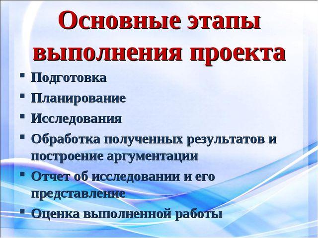 Основные этапы выполнения проекта Подготовка Планирование Исследования Обрабо...