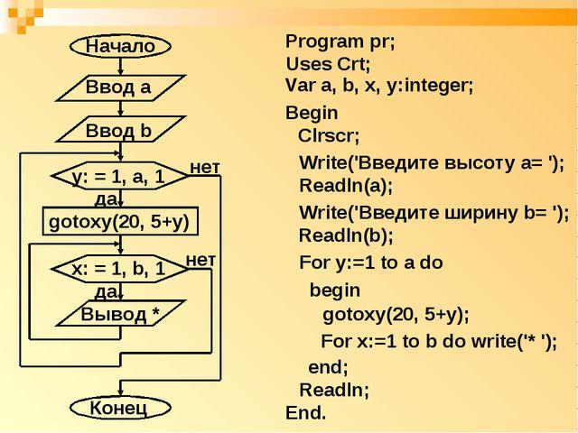 Program pr; Uses Crt; Var a, b, x, y:integer; Begin Clrscr; Write('Введите вы...