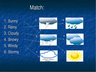 Match: 1. Sunny 2. Rainy 3. Cloudy 4. Snowy 5. Windy 6. Stormy a. b. c. d. e