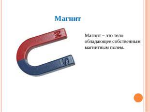 Магнит Магнит – это тело обладающее собственным магнитным полем.