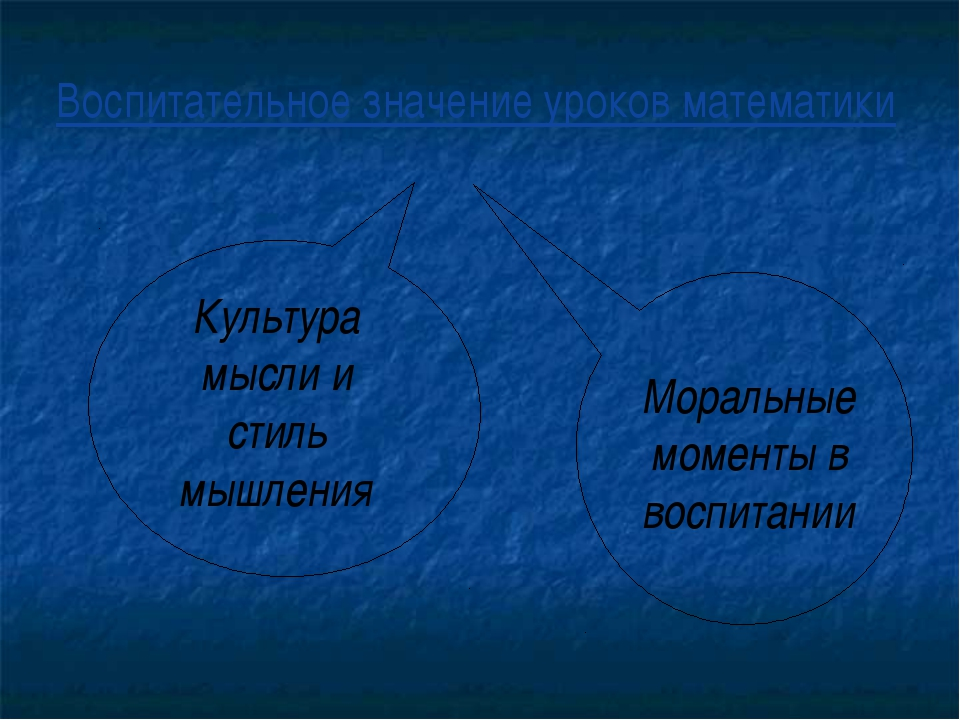 Воспитательное значение уроков математики Культура мысли и стиль мышления Мор...