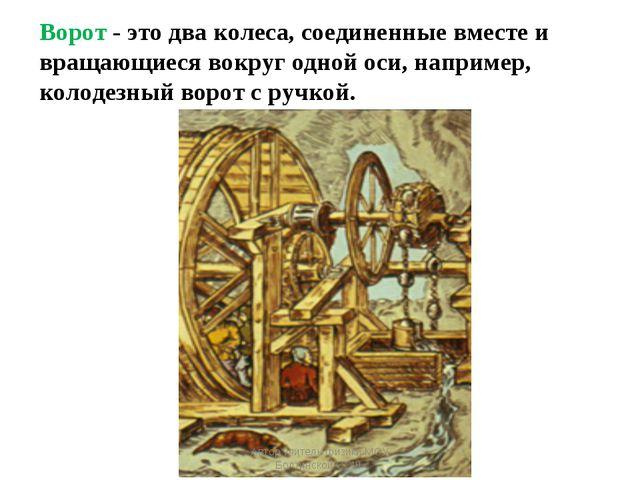 Ворот - это два колеса, соединенные вместе и вращающиеся вокруг одной оси, на...