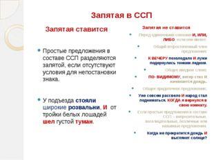 Запятая в ССП Запятая ставится Простые предложения в составе ССП разделяются