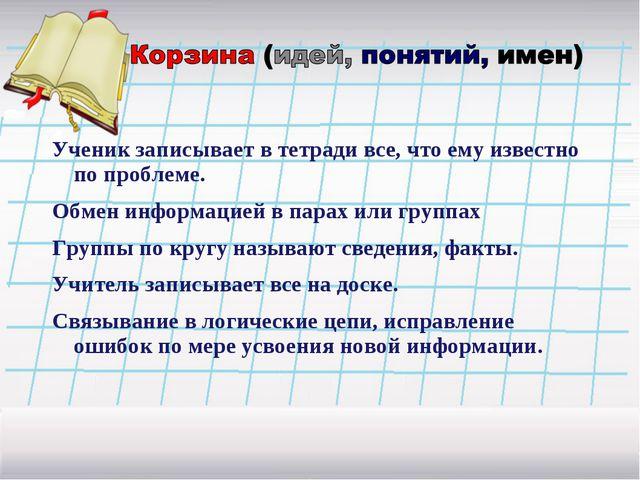 Ученик записывает в тетради все, что ему известно по проблеме. Обмен информац...