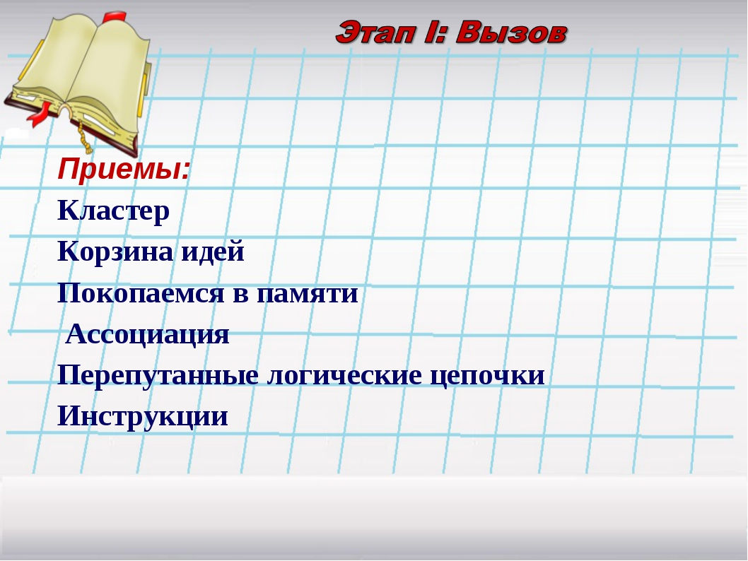 Приемы: Кластер Корзина идей Покопаемся в памяти Ассоциация Перепутанные логи...