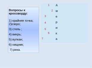Вопросы к кроссворду: 1) крайняя точка; 2)озеро; 3) степь ; 4) вихрь; 5) вулк
