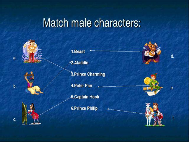 Match male characters: 1.Beast 2.Aladdin 3.Prince Charming 4.Peter Pan 5.Capt...