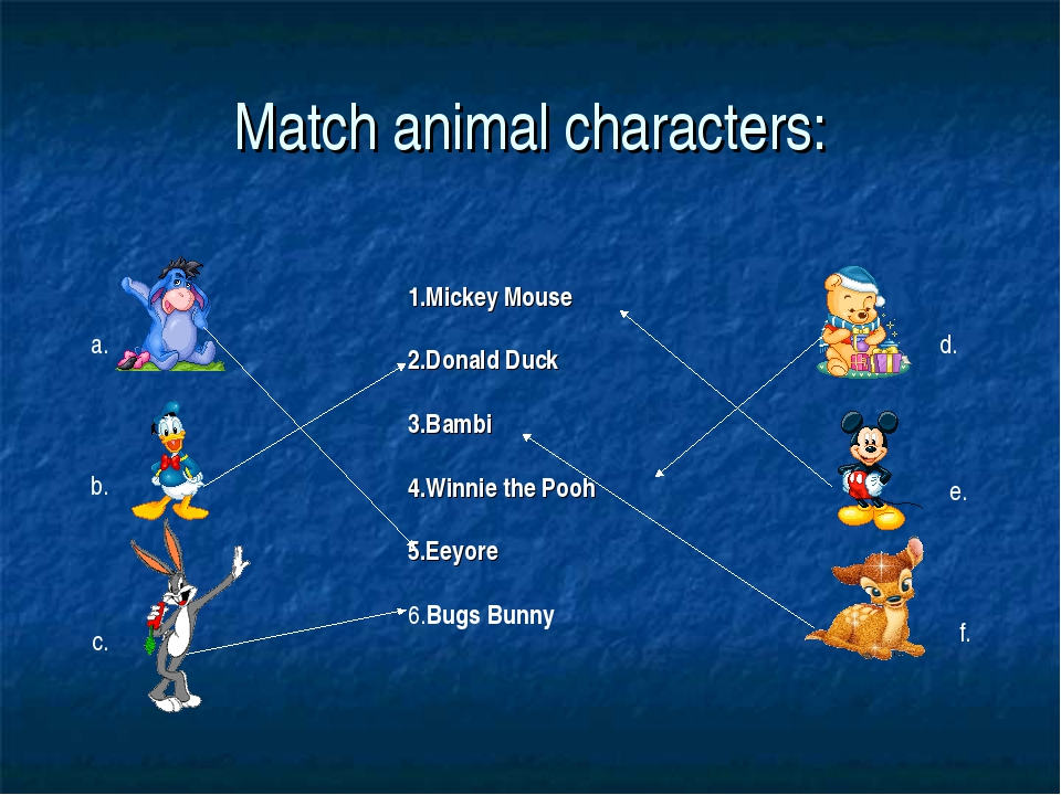 Match animal characters: 1.Mickey Mouse 2.Donald Duck 3.Bambi 4.Winnie the Po...