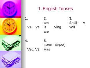 1.English Tenses 1. V1 Vs 2. am is Ving are 3. Shall V Will 4. Ved, V2 5. Ha