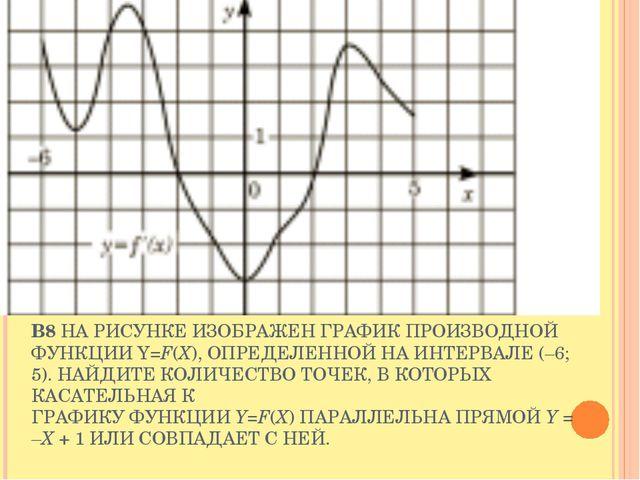 B8 НА РИСУНКЕ ИЗОБРАЖЕН ГРАФИК ПРОИЗВОДНОЙ ФУНКЦИИ Y=F(X), ОПРЕДЕЛЕННОЙ НА ИН...