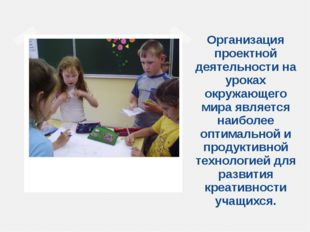 Организация проектной деятельности на уроках окружающего мира является наибол