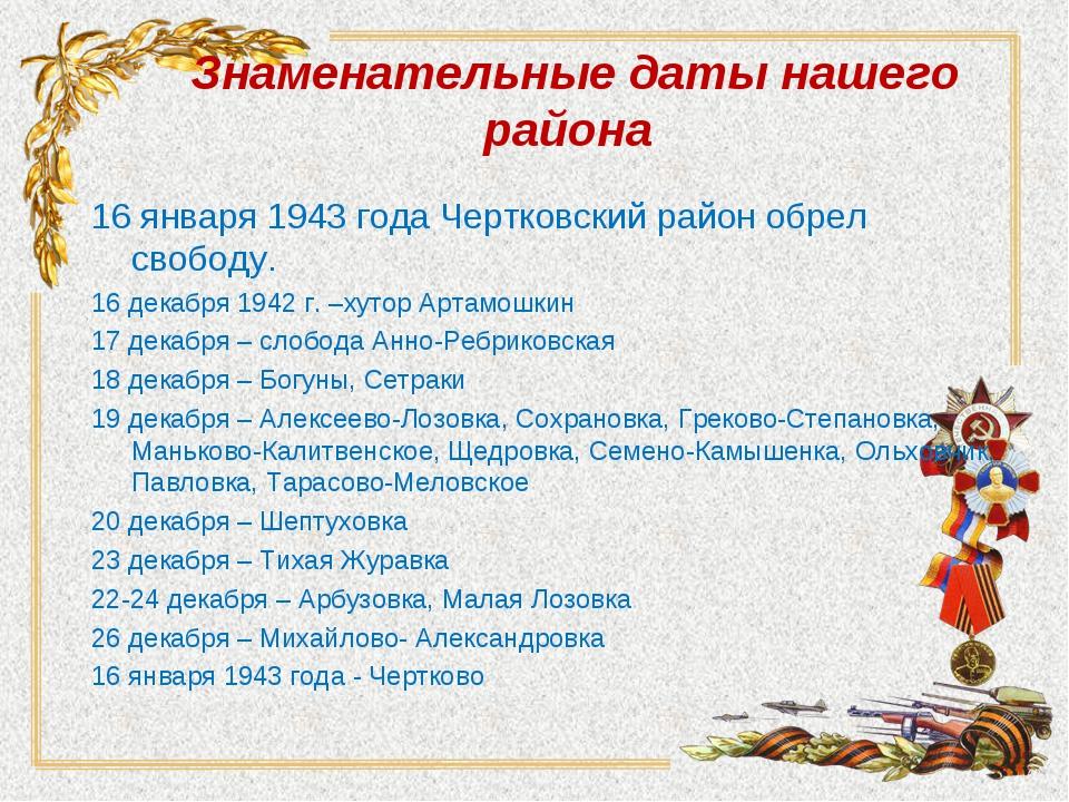 Знаменательные даты нашего района 16 января 1943 года Чертковский район обрел...