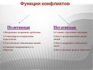 Функции конфликтов Позитивная 1.Вскрывают назревшие проблемы. 2.Стимулируют и