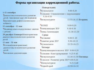 Формы организации коррекционной работы. 1-15 сентября Диагностика психическог