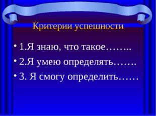Критерии успешности 1.Я знаю, что такое…….. 2.Я умею определять……. 3. Я смогу