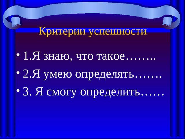 Критерии успешности 1.Я знаю, что такое…….. 2.Я умею определять……. 3. Я смогу...