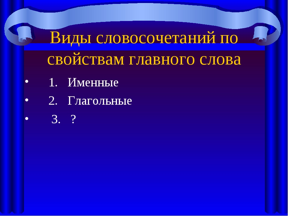 Виды словосочетаний по свойствам главного слова 1. Именные 2. Глагольные 3. ?
