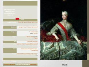 мать регент Ангальт-Цербста (при сыне Фридрихе-Августе) 1747—1752 Предшеств