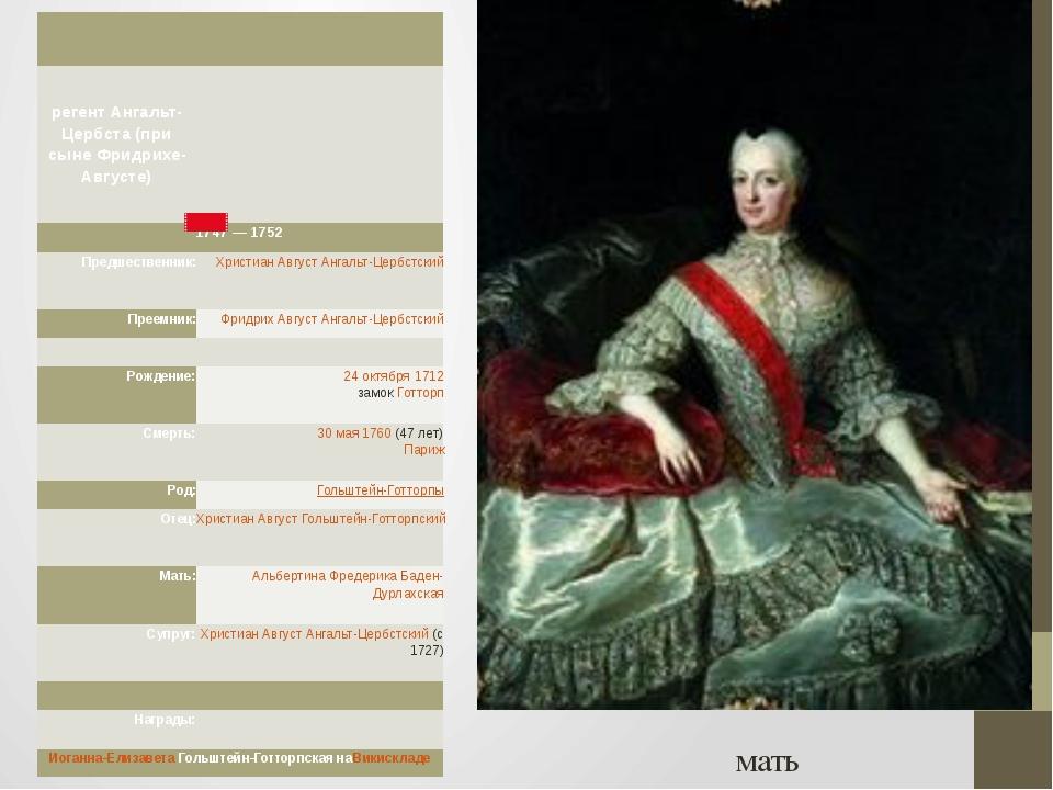 мать регент Ангальт-Цербста (при сыне Фридрихе-Августе) 1747—1752 Предшеств...