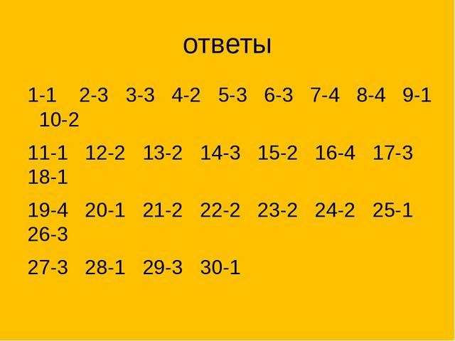 ответы 1-1 2-3 3-3 4-2 5-3 6-3 7-4 8-4 9-1 10-2 11-1 12-2 13-2 14-3 15-2 16-4...
