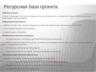 Ресурсная база проекта Кадровые ресурсы. В проекте принимают участие все жела
