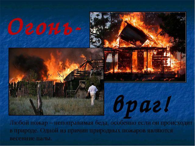 Огонь- враг! Любой пожар – непоправимая беда, особенно если он происходит в п...