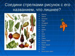 Соедини стрелками рисунок с его названием, что лишнее? Морковь Свекла Баклажа