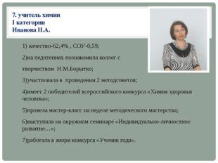 7. учитель химии I категории Иванова Н.А. 1) качество-62,4% , СОУ-0,59; 2)на