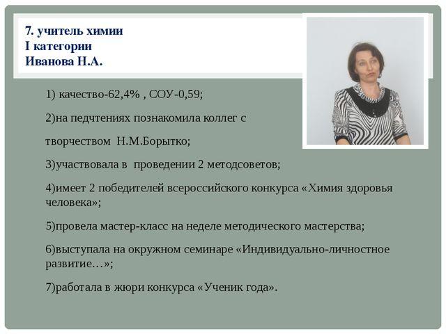 7. учитель химии I категории Иванова Н.А. 1) качество-62,4% , СОУ-0,59; 2)на...