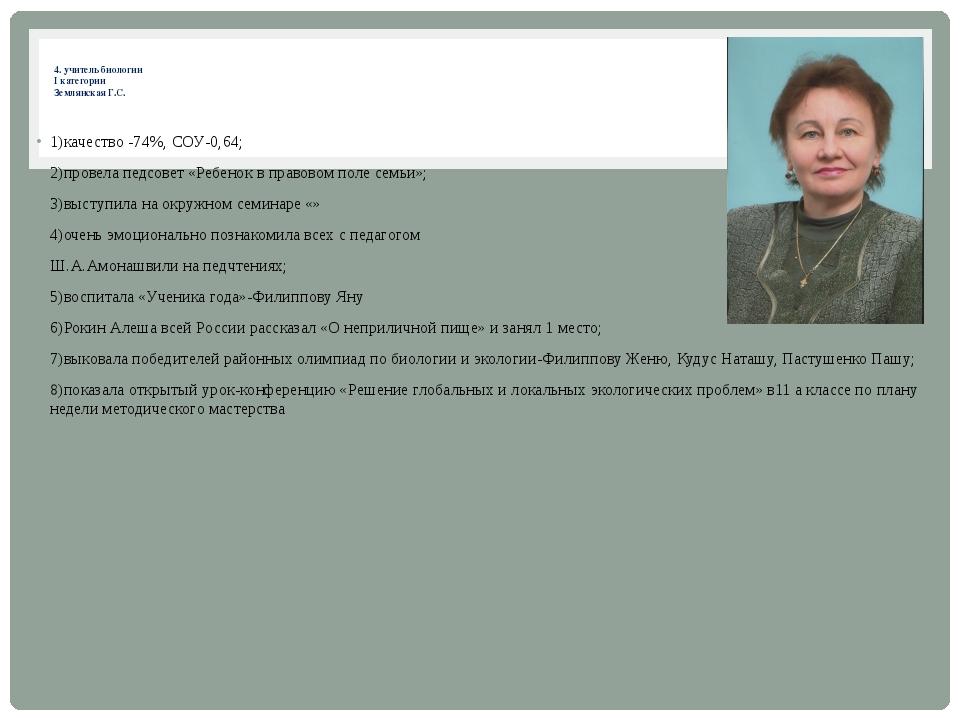 4. учитель биологии I категории Землянская Г.С. 1)качество -74%, СОУ-0,64;...