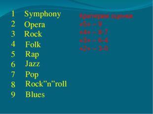 """1 2 3 4 5 6 7 8 9 Symphony Opera Rock Rap Folk Jazz Pop Rock""""n""""roll Blues Кри"""