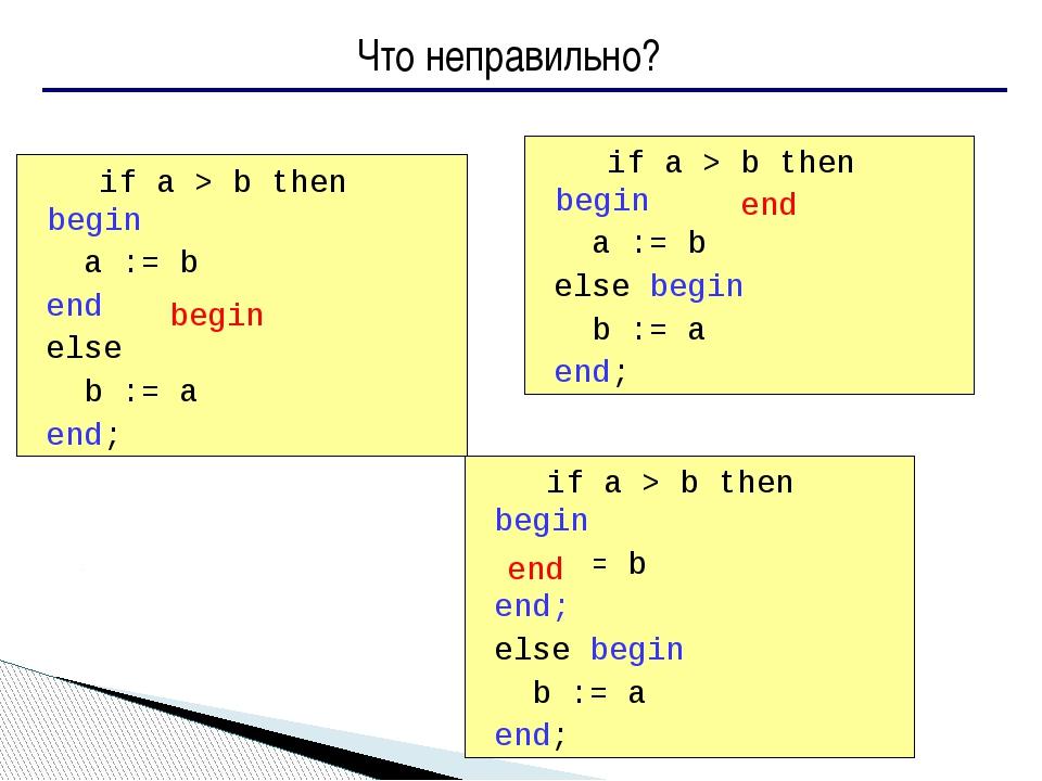 Что неправильно? if a > b then begin a := b end else b := a end; if a > b...
