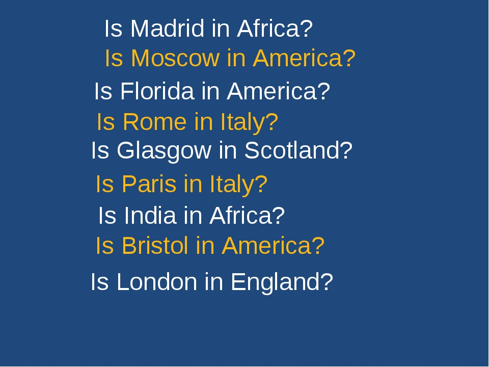 Is Madrid in Africa? Is Moscow in America? Is Florida in America? Is Rome in...