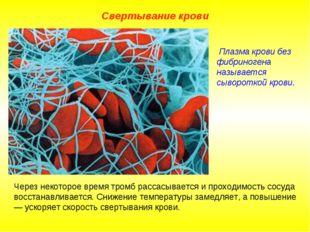 Свертывание крови Через некоторое время тромб рассасывается и проходимость со