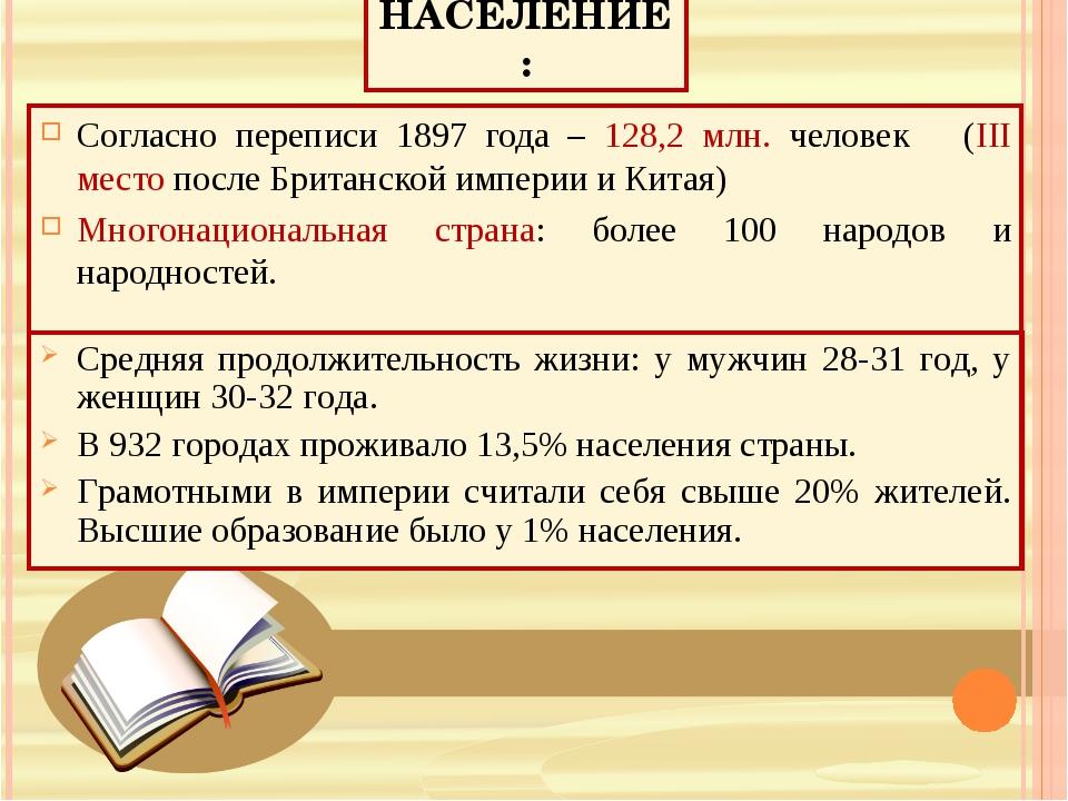НАСЕЛЕНИЕ: Согласно переписи 1897 года – 128,2 млн. человек (III место после...