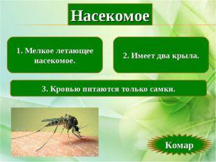 1. Мелкое летающее насекомое. 2. Имеет два крыла. 3. Кровью питаются только с