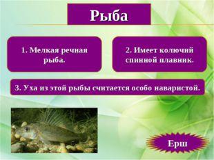 1. Мелкая речная рыба. 2. Имеет колючий спинной плавник. 3. Уха из этой рыбы