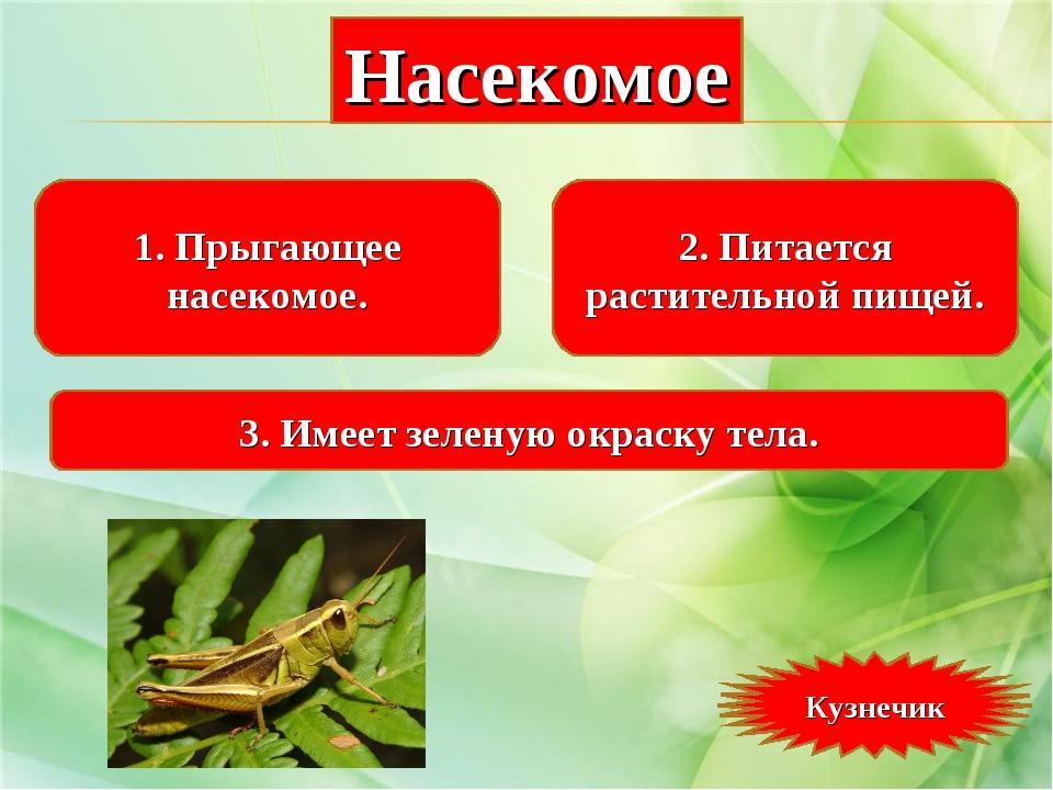 1. Прыгающее насекомое. 2. Питается растительной пищей. 3. Имеет зеленую окра...