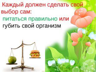 . Каждый должен сделать свой выбор сам: питаться правильно или губить свой ор