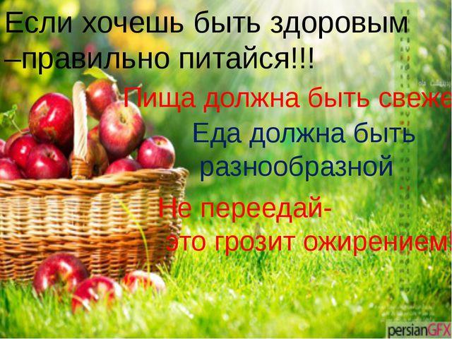 Если хочешь быть здоровым –правильно питайся!!! Пища должна быть свежей Еда д...